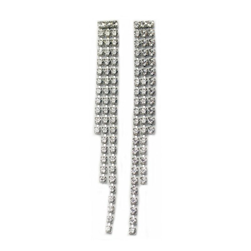 Fabulous crystal triple strand drop earrings