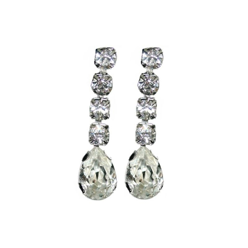 Long crystal teardrop earrings