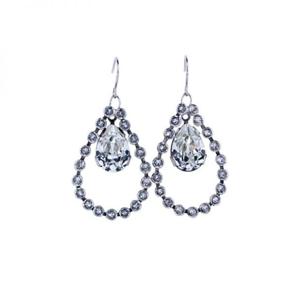 hoop crystal earrings, teardrop earring