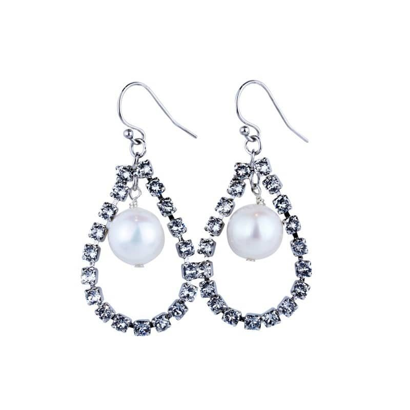 Fresh water pearl and crystal hoop bridal earring