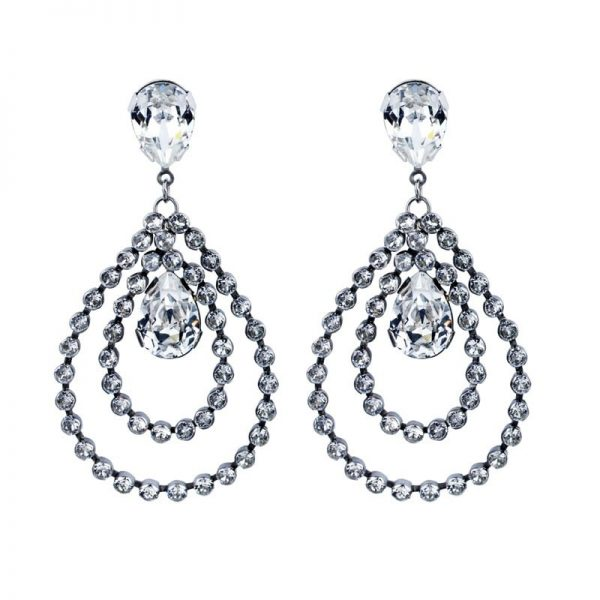 hoop crystal earrings, statement earrings