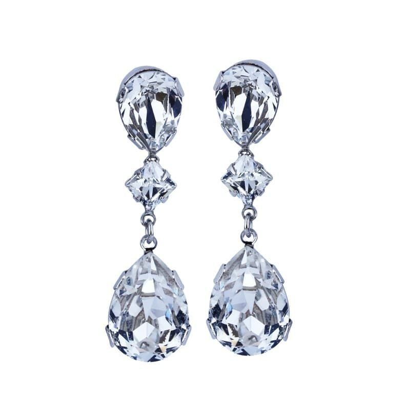 Long drop teardrop crystal earrings