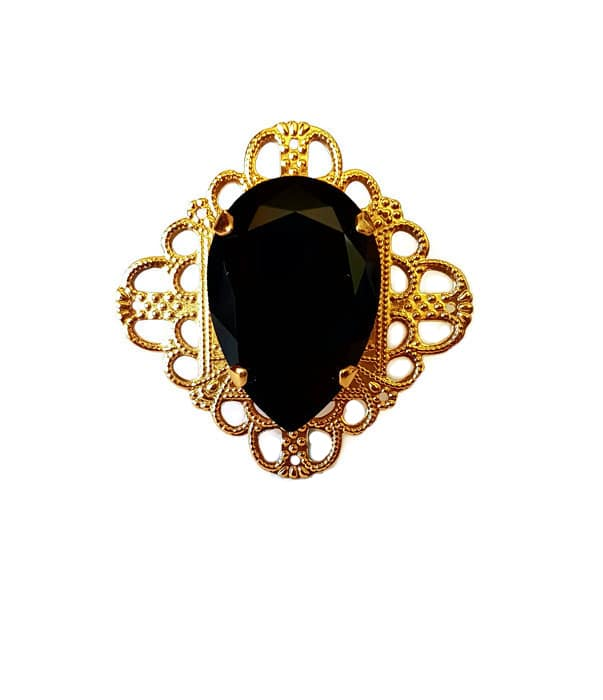 Gold, black crystal, ring, fashion ring, wide ring, filigree metal ring, coctail ring