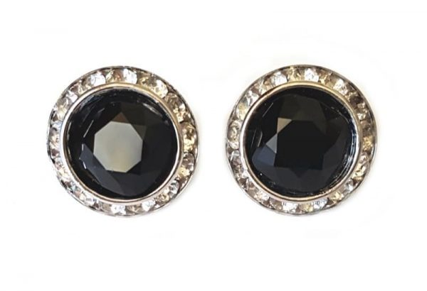 black round studs, 2cm studs, black studs with crystals surrounding, formal, day wear, evening earrings, bridal earrings, bridesmaids earrings