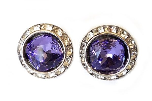 purple round studs, 2cm studs, purple studs with crystals surrounding, formal, day wear, evening earrings, bridal earrings, bridesmaids earrings