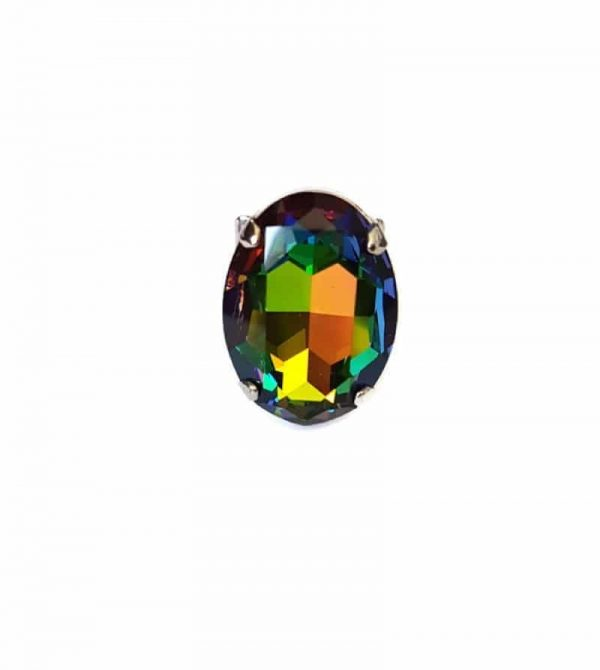 oval crystal oval vitrrail ring, large statement ring, swarovski crystal ring