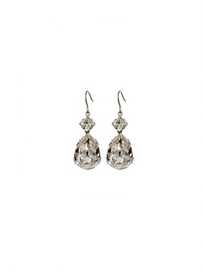 bridal swarovski crystal long drop earrings