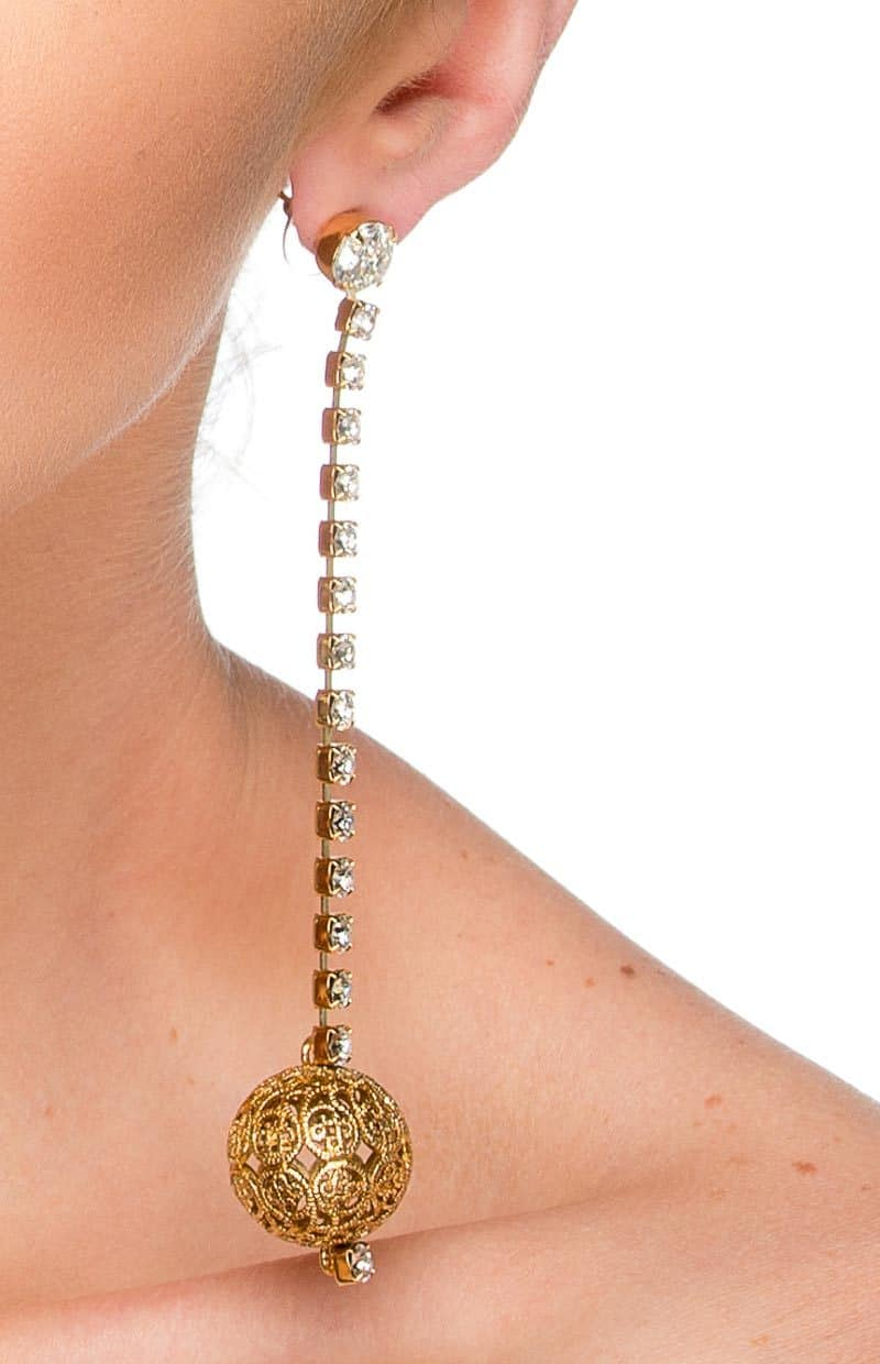 E003GCL Lets Dance Long drop gold earrings, swarovski crystal, 12cm long, Redki Couture Jewellery