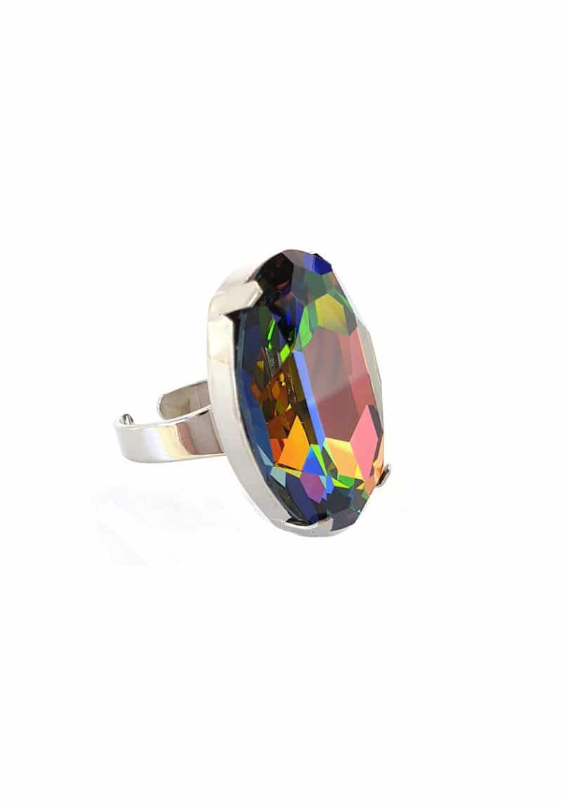 statement fashion silver ring featuring swarovski crystal vitrail oval crystal, large oval statement ring, oval green ring, oval pink ring, oval blue ring
