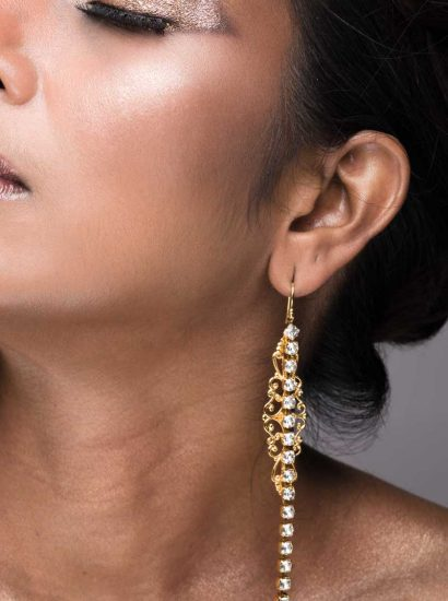 E057GCL_NIGHTFALL LONG EARRINGS, Clear, Gold Metal_Redki_Couture_Jewellery