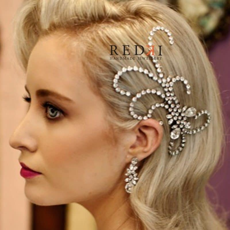 Gatsby Crystal Scroll Hairpiece – Silver Metal, Clear Crystal