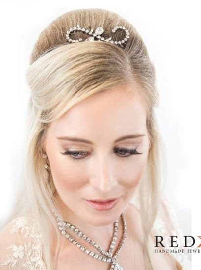 Gatsby Crystal Small Scroll Hairpiece – Silver Metal, Clear Crystal