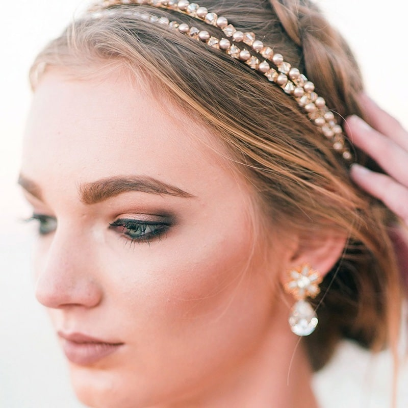 b2ea61a5a4bf Falling For You Crystal Pearl Bronze Headband