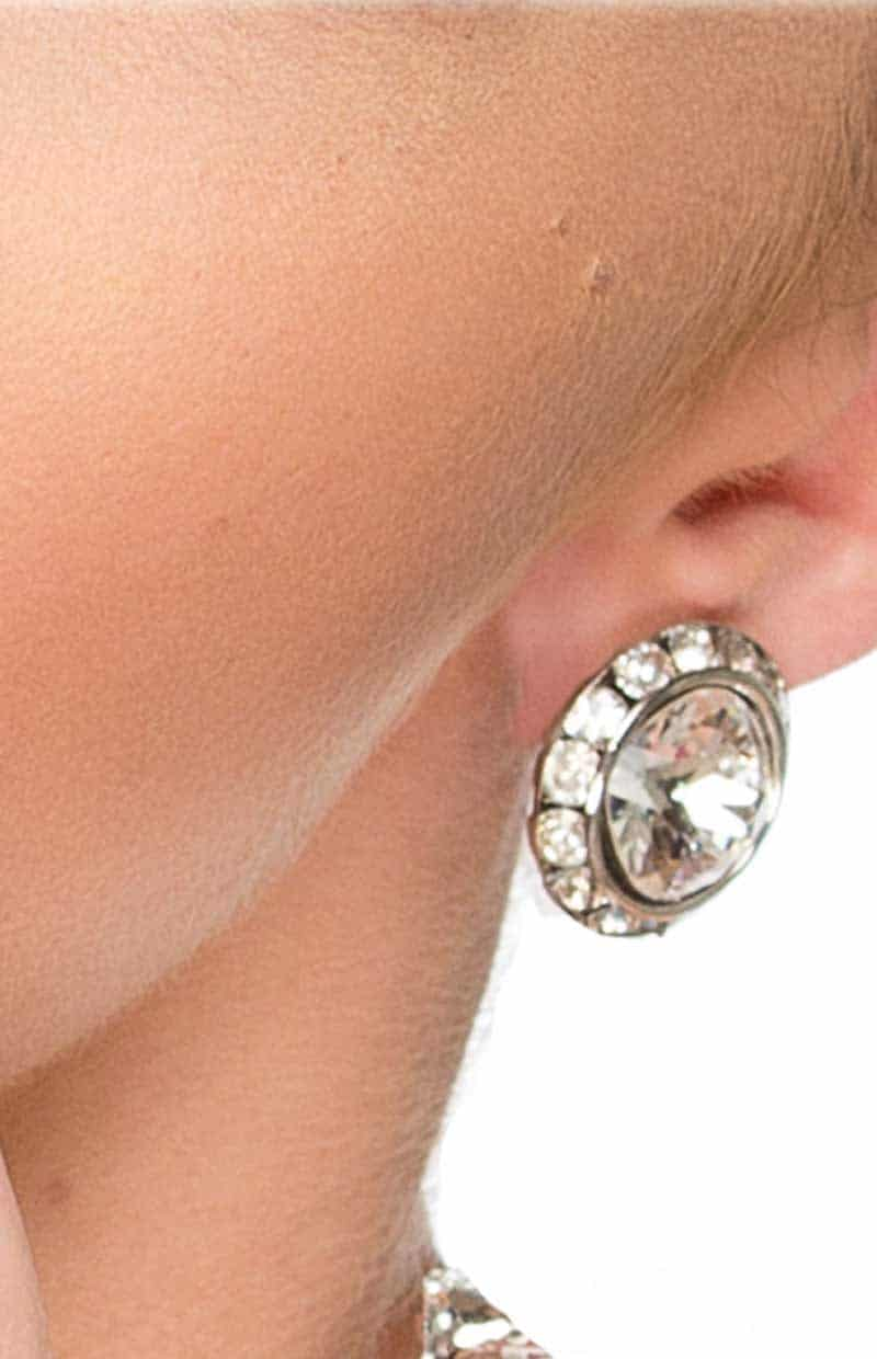 HORIZONS STUDS DIAMOND, Clear Crystals, Diamond, Silver Metal studs