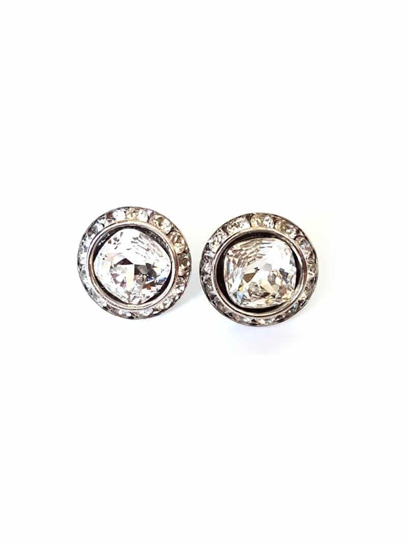 d086c9e880318 HORIZONS STUDS ROUND, Clear Crystals, Silver Metal