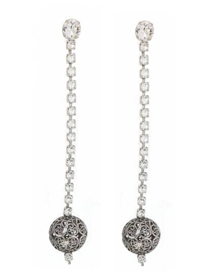 long Ball Earrings Silver. Handcrafted in Australia. Fabulous filigree ball suspended from a strand of swarovski crystals finished in silver plating.