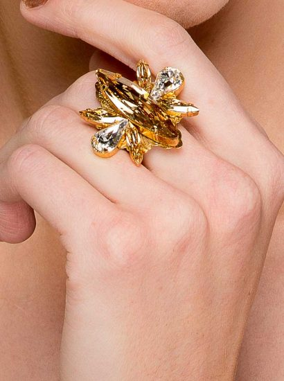 R004GGS Parisian Nights Gold Mrquee Ring, Redki Couture Jewellery