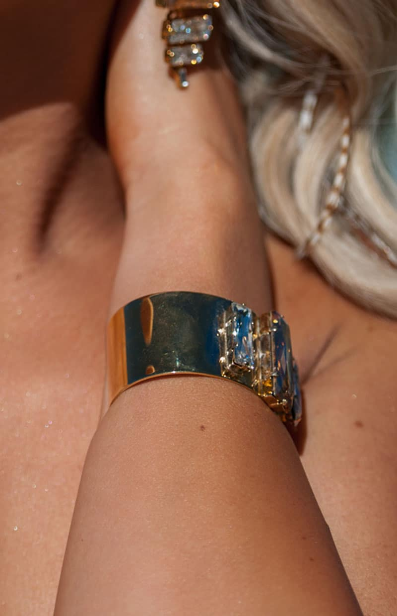 MARTINI SWINGS CUFF BRACELET, Clear Crystal, Gold Metal - Redki - Couture  Jewellery