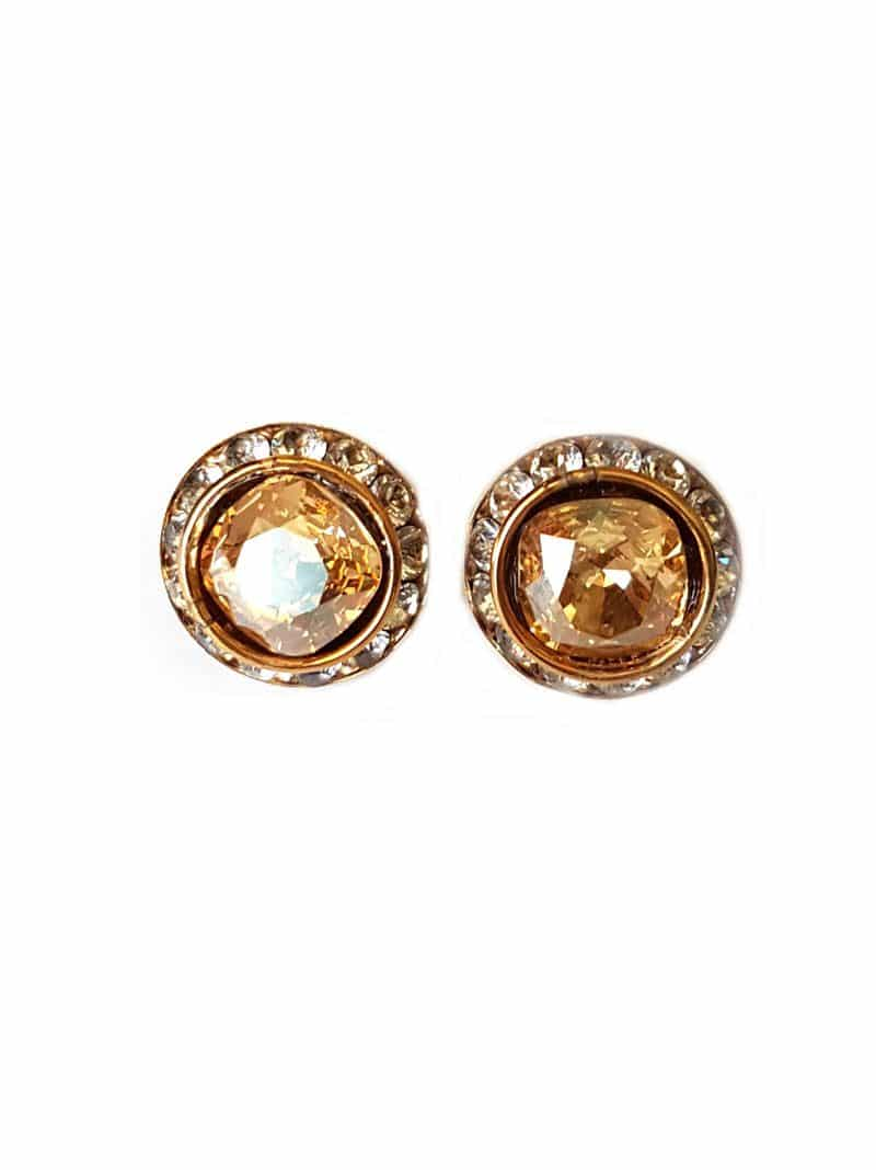 gold round crysgal earrings, 2cm round crystal earrings