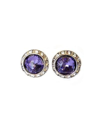 purple round 2cm studs, swarovski crystal purple round studs, bridesmaids crystal purple studs, clipon earrings
