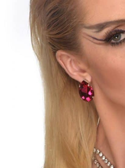hot pink teardrop swarovski crystal earrings
