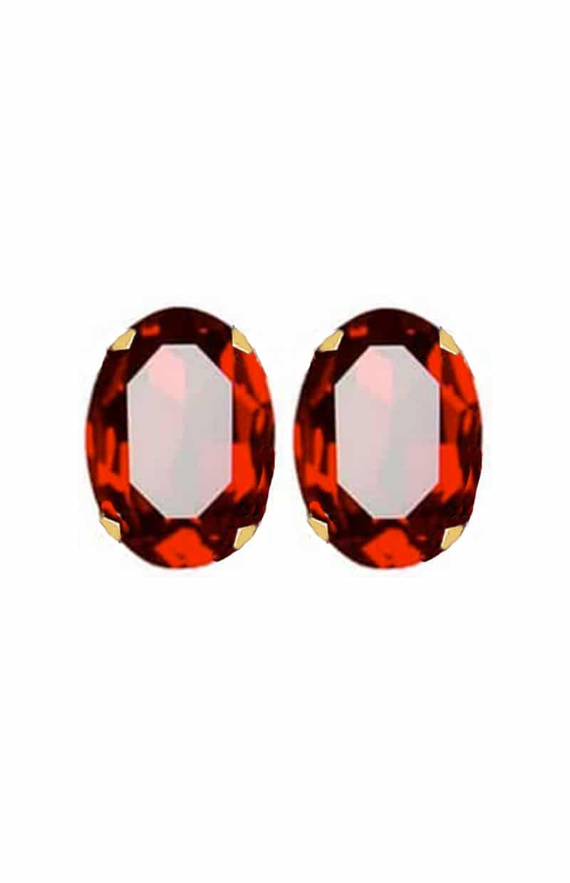 statement fashion earrings, swarovski crystal large siam red oval studs earrings, statement oval siam red studs, siam red crystal earrings, swarovski crystal oval studs siam red 30mm