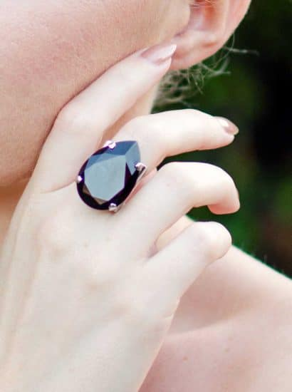 Calm teardrop black ring swarovski crystal ring in silver metal. Handcrafted in Australia. Gorgeous statement teardrop ring in jet black Swarovski crystal, finished in silver metal, Fashion Crystal ring, Fashion crystal ring, Fashion ring Australia, Fashion ring Brisbane, Fashion ring Sydney, Fashion ring Melbourne, Fashion ring vintage, Fashion ring Melbourne, gold Fashion ring, silver Fashion ring, Swarovski crystal Fashion ring, Fashion ring online, statement Fashion ring earrings, Fashion ring gold crystal for bridesmaids, silver rings for bridesmaids, modern Fashion ring, custom made Swarovski crystal Fashion ring, handcrafted Fashion ring, plus size Fashion ring, Fashion ring swarovski crystal, Fashion ring gold, bridal Fashion ring after pay, Fashion ring adelaide, Fashion ring gold, Fashion ring silver, Fashion ring australia, Fashion ring swarovski crystal, swarovski crystal Fashion ring teardrop, swarovski crystal Fashion ring oval, handcrafted Fashion ring Brisbane Australia