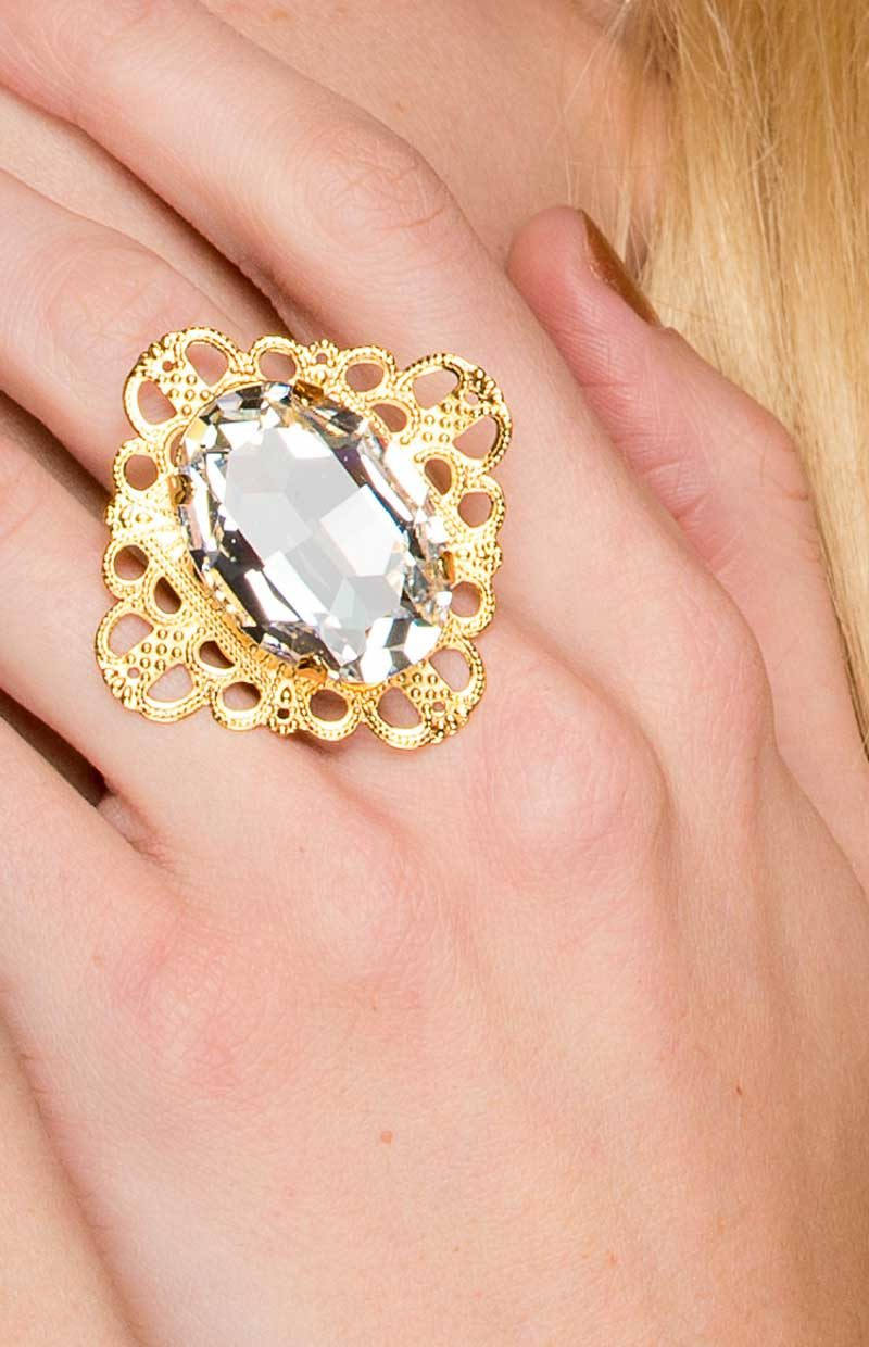 R032GCL4 Nightfall Ring Gold, Redki Couture Jewellery, swrovski crystal ring