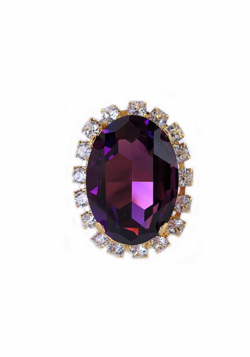 amethyst purple swarovski crystal oval ring, striking statement silver oval ring. Featuring a amethyst purple swarovski crystal. ring is 4x3cm with an oval shaped crystal onto silver ring