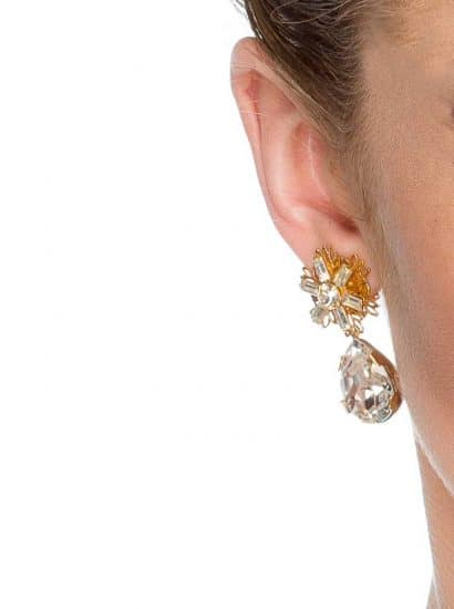 handmade swarovski crystal earring, swarovski gold crystal earring, wedding earrings, bridesmaids earrings, formal earrings, workwear earrings, marquee earrings, teardrop Swarovski Crystal earrings, gold crystal earrings