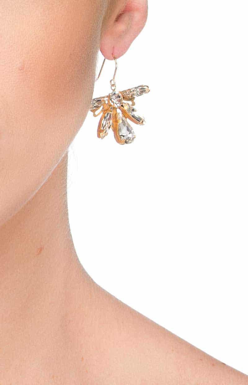 E068GCL Starlight Drop swarovski crystal gold earrings, redki couture jewellery, bridal earrings