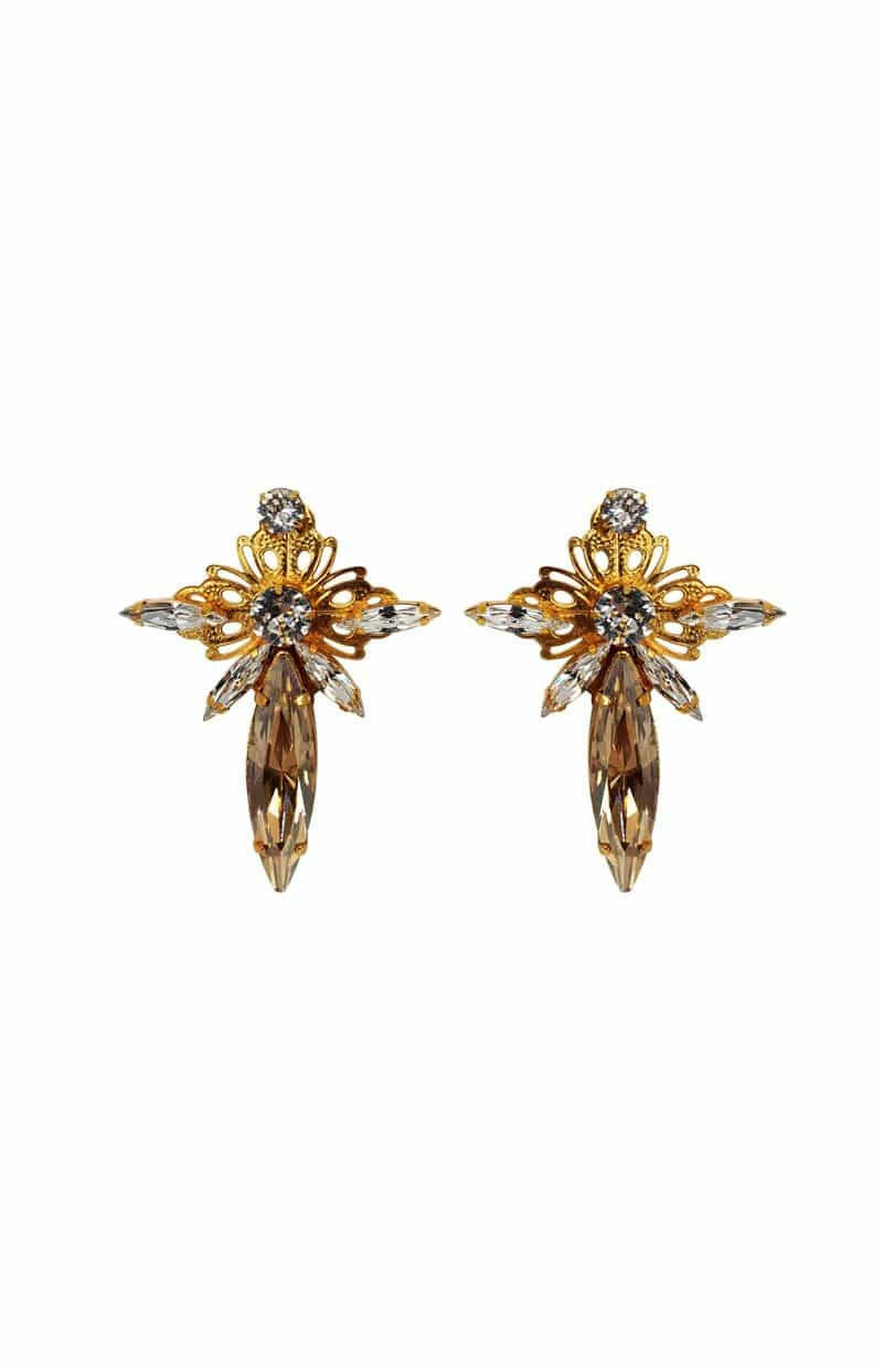 PARISIAN NIGHTS studs – Crystal Marquise Filigree Studs, Gold