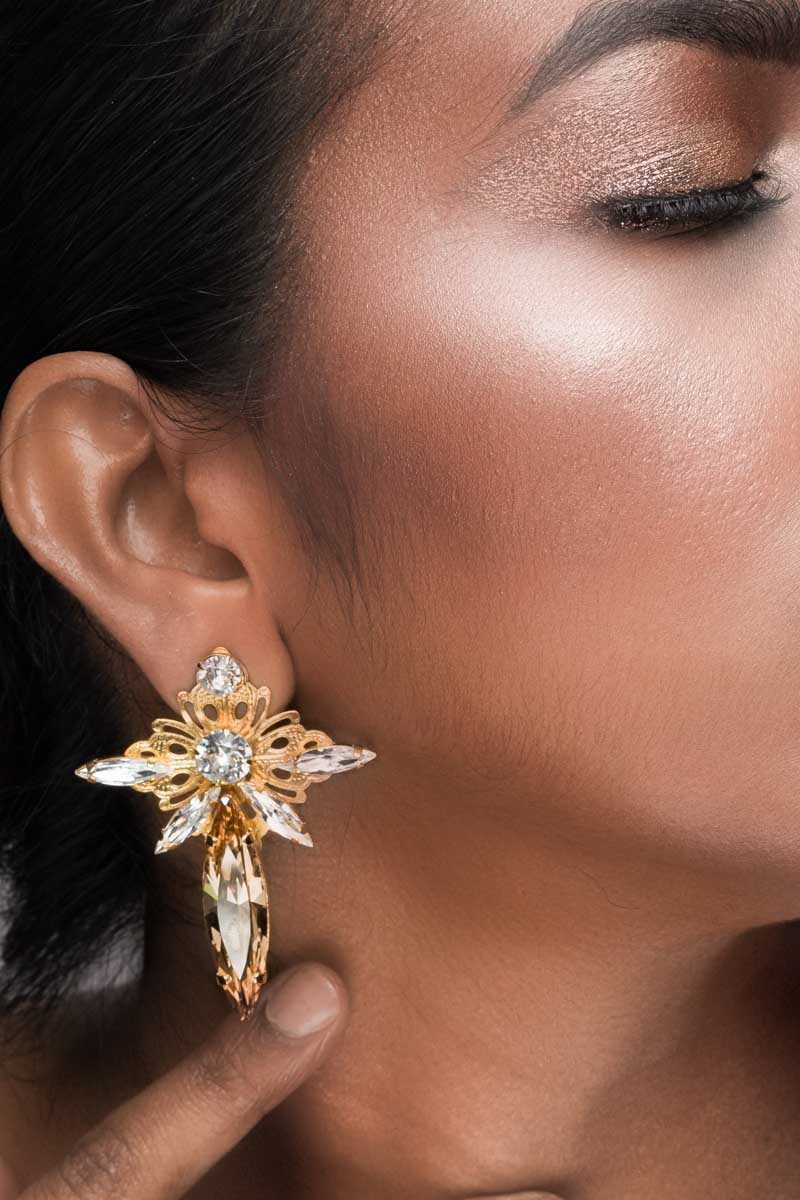 PARISIAN NIGHTS EARRINGS GRAND, Golden Shadow and Clear Crystal, Marquee, Gold Metal, REDKI COUTURE JEWELLERY