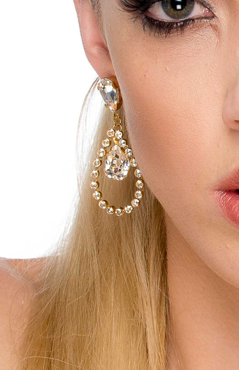E093LUG Whispers in the Night Gold Earrings, teardrop swarovski crystal, Redki Couture Jewellery