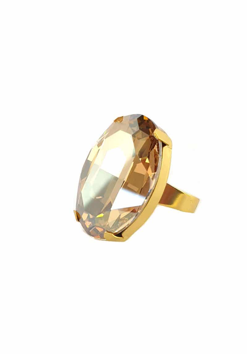 swarovski crystal golden shadow crystal ring, 3cm. Handcrafted in Australia. Fabulous feature golden shadow oval statment ring Swarovski crystal. Finished in gold