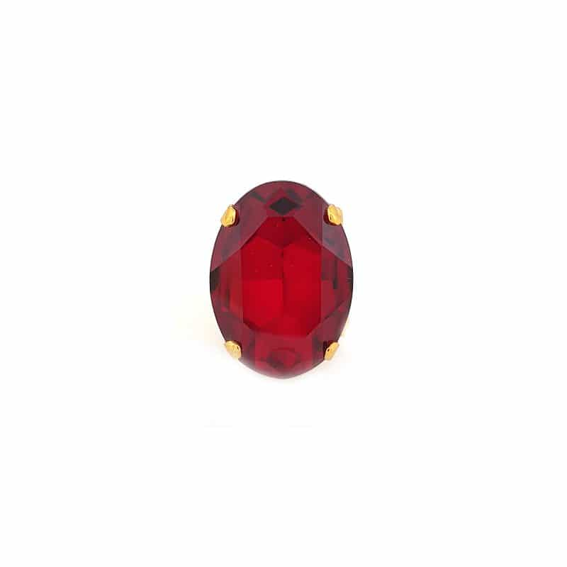 red swarovski crystal statement ring 3cm, onto gold metal, Redki Couture