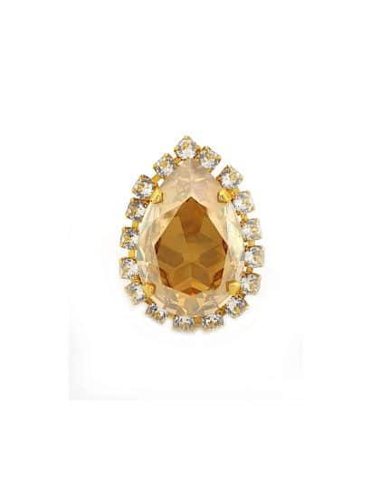 gold teadrop swraovski crystal ring