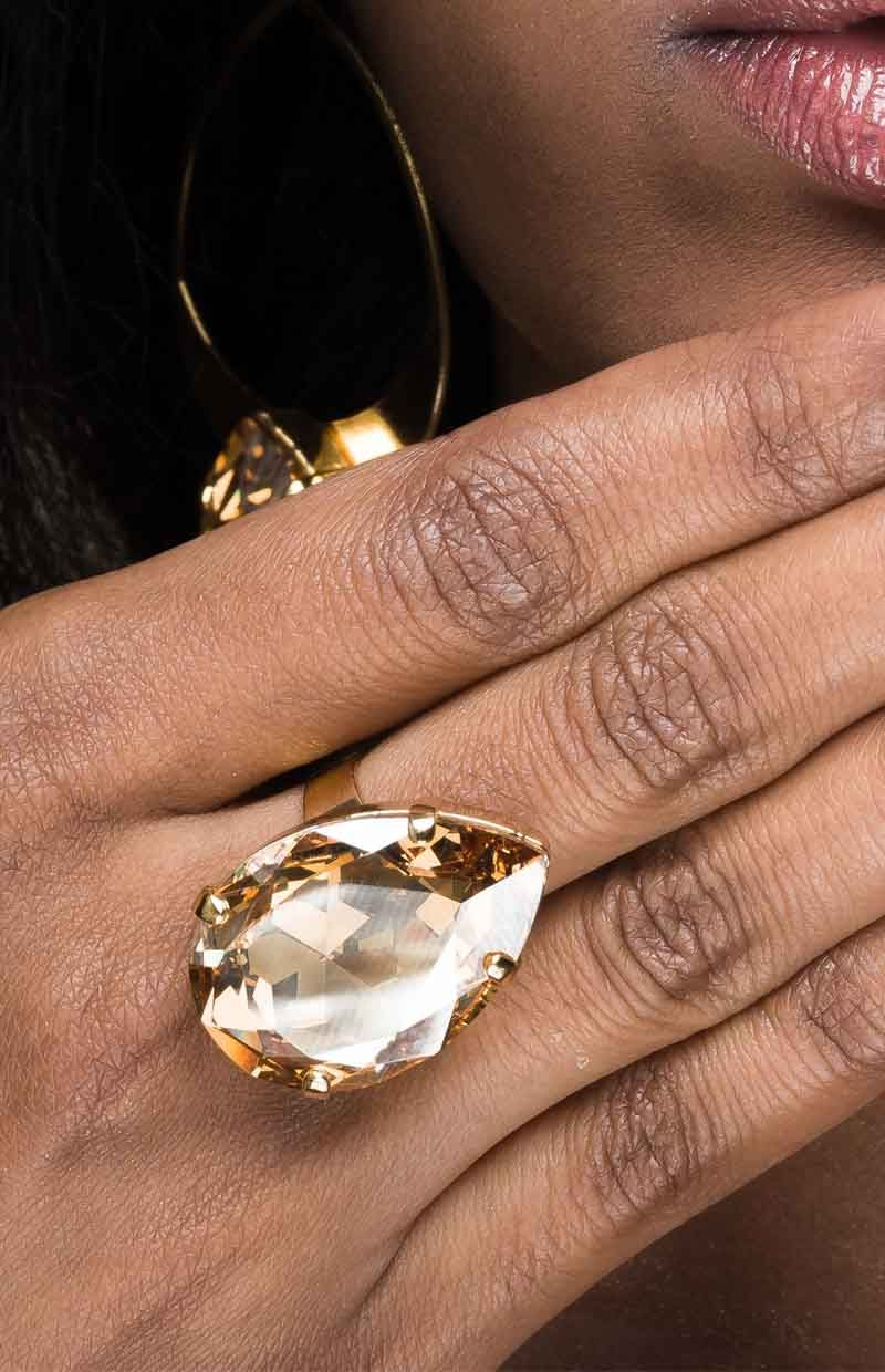 R061GGS MANHATTAN NIGHTS RING, SWAROVSKI CRYSTAL GOLDEN SHADOW 3CM OVAL, REDKI COUTURE JEWELLERY