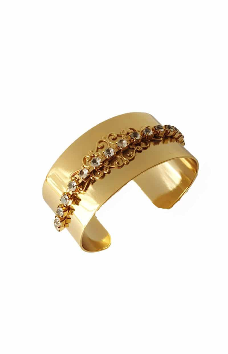 B079RCL Nightfall cuff bracelet gold, Redki Couture Jewellery
