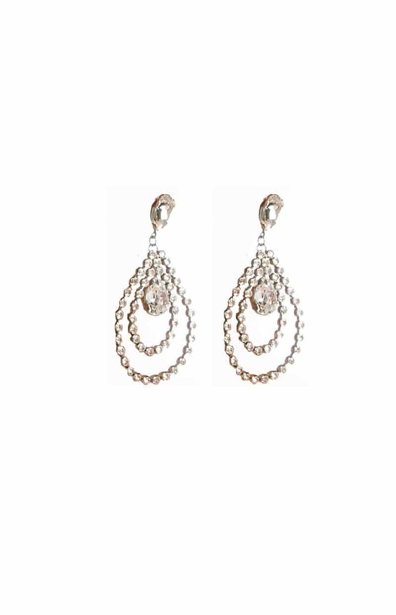 E111RCL WHISPERS IN THE NIGHT GRAND STUDS, Clear Crystals, Double Teardrop, Silver Metal large 8.5cm long, Redki Couture Jewellery