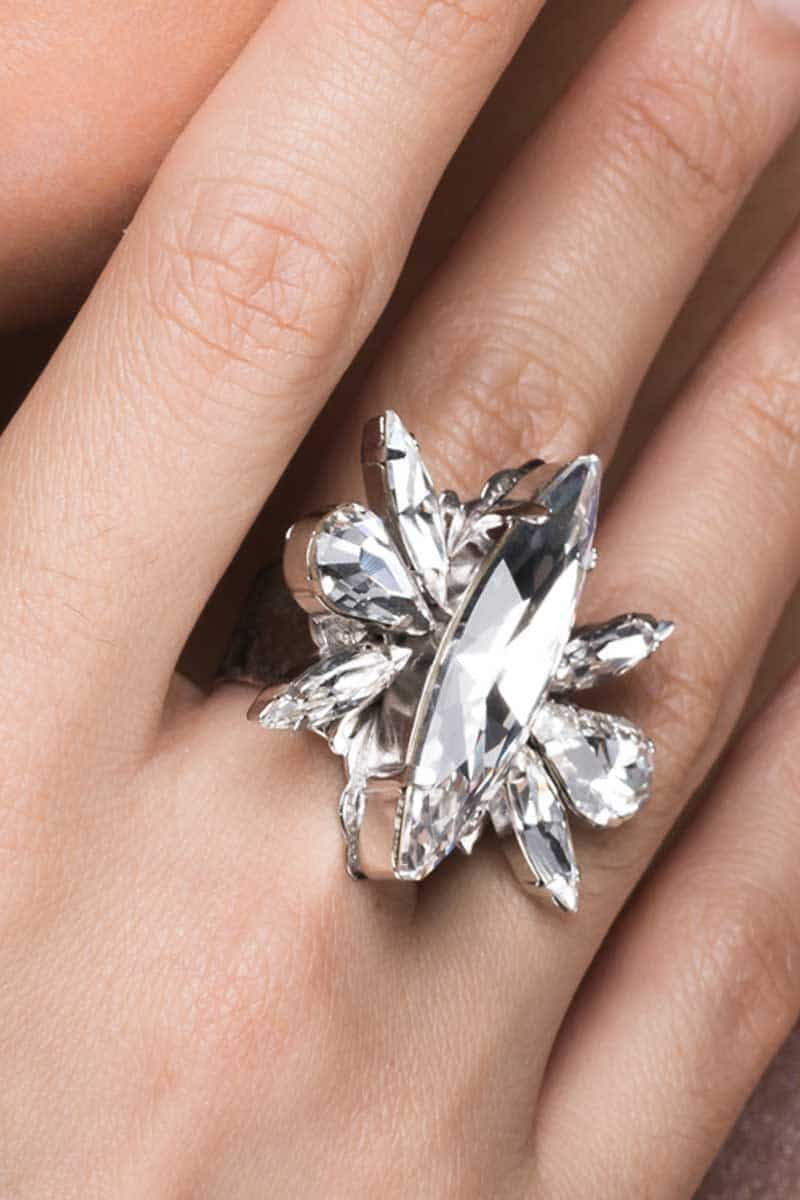 Parisian Nights Clear Crystal and Silver Ring, Redki Couture Jewellery