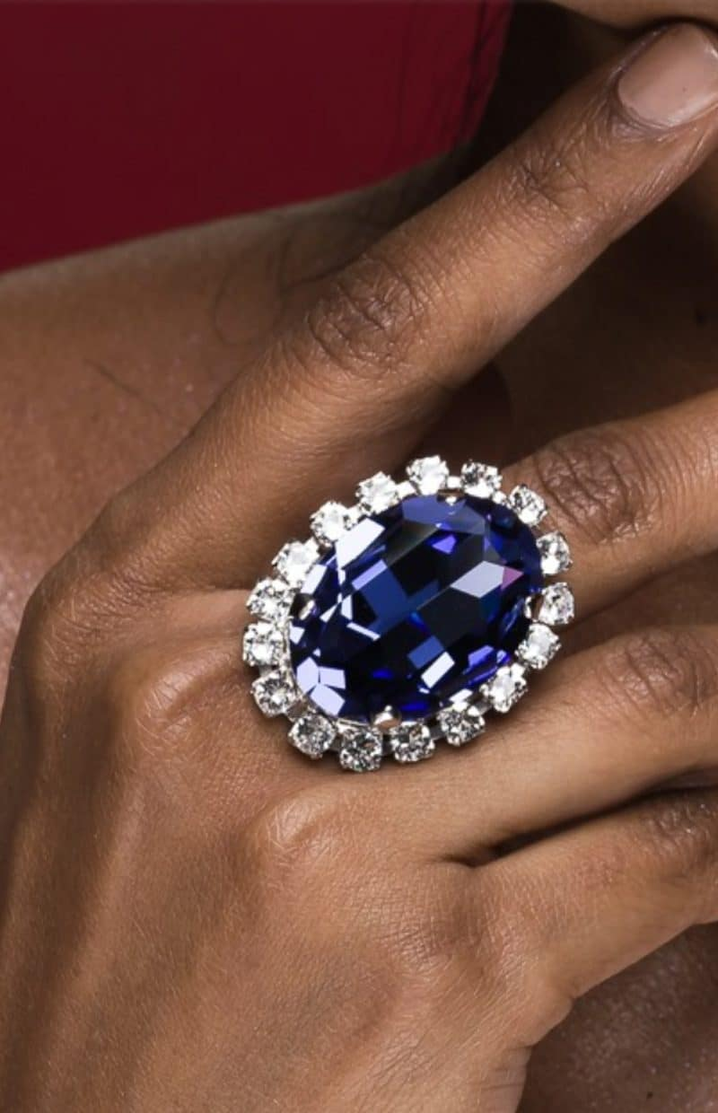 R048TZ Tanzanite 4cm statement swarovski crystal ring, Redki Couture Jewellery