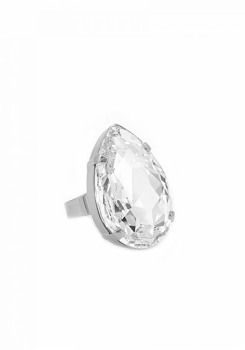 clear crystal teardrop ring, statement crystal ring, Swarovski Crystal clear teardrop ring, 3cm teardrop silver ring, Redki Couture Jewellery, handmade ring jewellery in Australia,