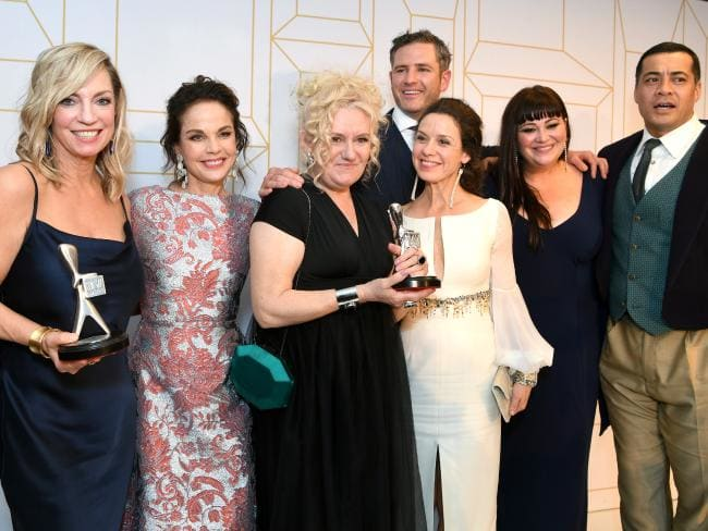 logies 2018 Wentworth Australia, Wentworth winner, Celia Ireland, Congratulations to the amazing cast of Wentworth, in the photos are Celia Ireland, Sigrid Thornton, Katrina Milosevic, Kate Jenkinson, Bernard Curry and Robbie Magasiva wearring Redki Couture Jewellery,