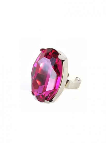 fuchsia swarovski crystal statement ring 3cm, onto rhodium plated metal, Swarovski Crystal fuchsia crystal oval ring, fuchsia 3cm oval silver ring, bridesmaids ring,
