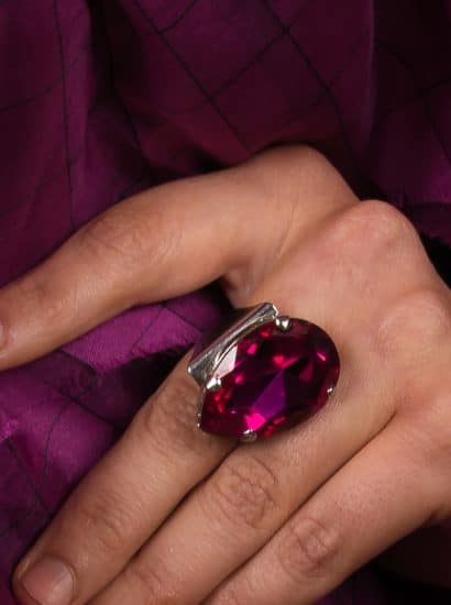 Swarovski Crystal fuchsia crystal oval ring, fuchsia 3cm teardrop silver ring, bridesmaids ring, fashion statement silver ring fuchsia crystal, silver cocktail ring, silver dress ring, silver formal ring
