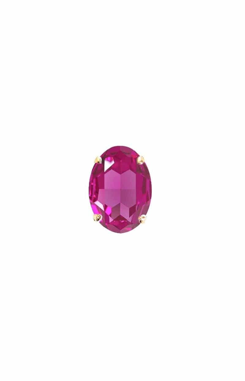 fuchsia swarovski crystal statement ring 3cm, onto gold metal, Redki Couture Jewellery