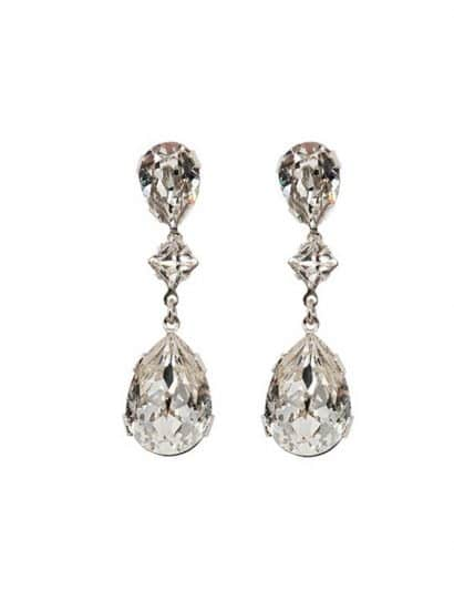 long clear swarovski crystal teardrop bridal earrings