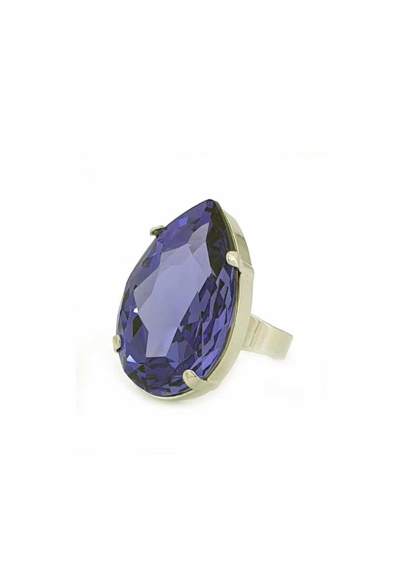 tanzanite striking statement silver teardrop ring. Featuring a tanzanite swarovski crystal. Cuff is 3.8cm wide with an teardrop shaped crystal onto silver ring